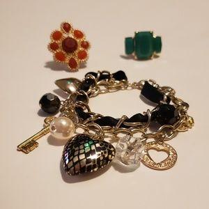 LOT- Torrid Charm bracelet & 2 rings